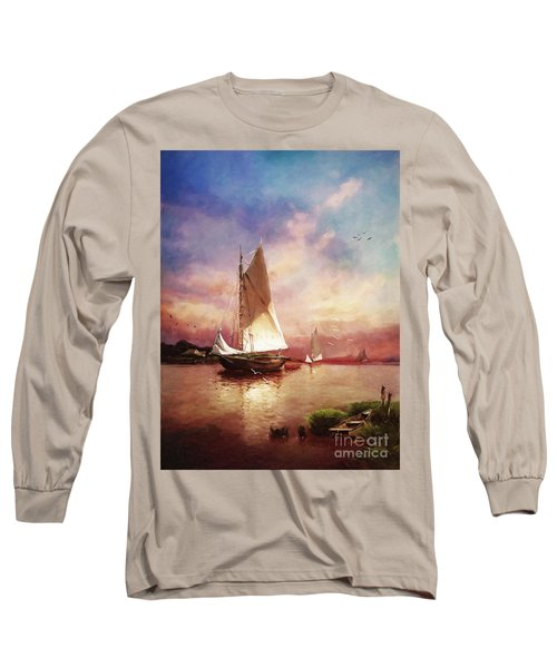 Home To The Harbor Long Sleeve T-Shirt by Lianne Schneider