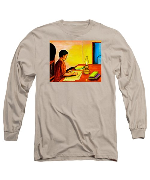 Long Sleeve T-Shirt featuring the painting Homework by Cyril Maza