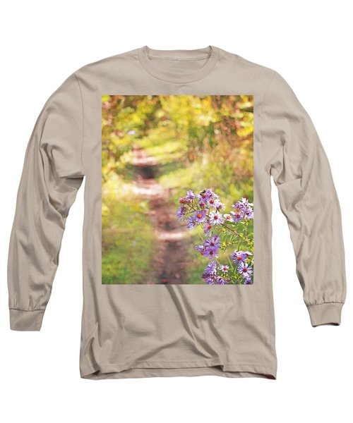 Long Sleeve T-Shirt featuring the photograph Honey Bee On Purple Aster by Brooke T Ryan