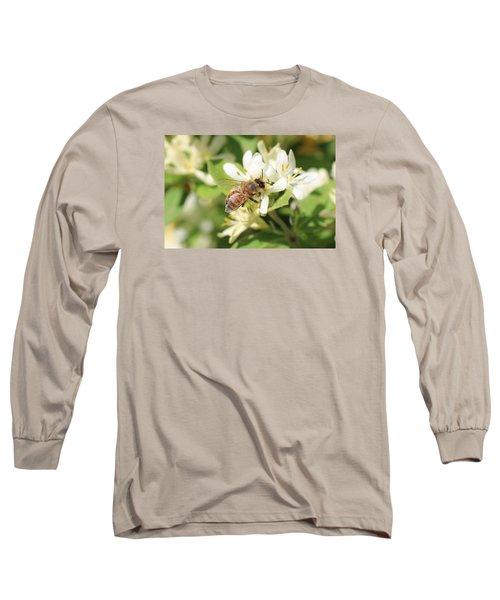 Honeybee And Honeysuckle Long Sleeve T-Shirt by Lucinda VanVleck