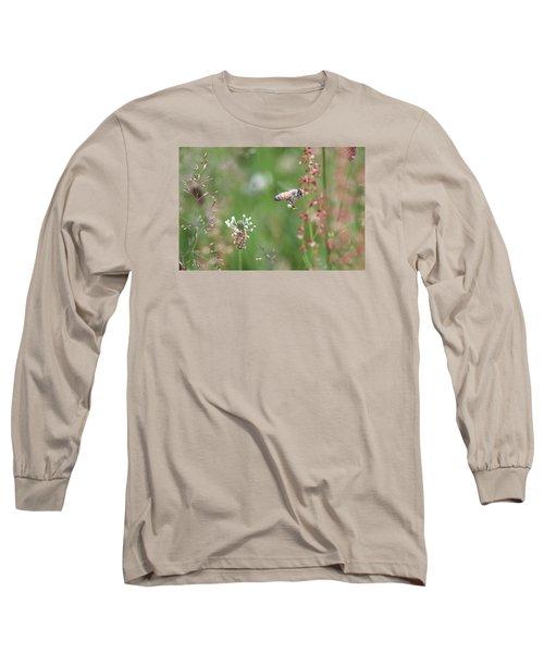 Honeybee Flying In A Meadow Long Sleeve T-Shirt by Lucinda VanVleck