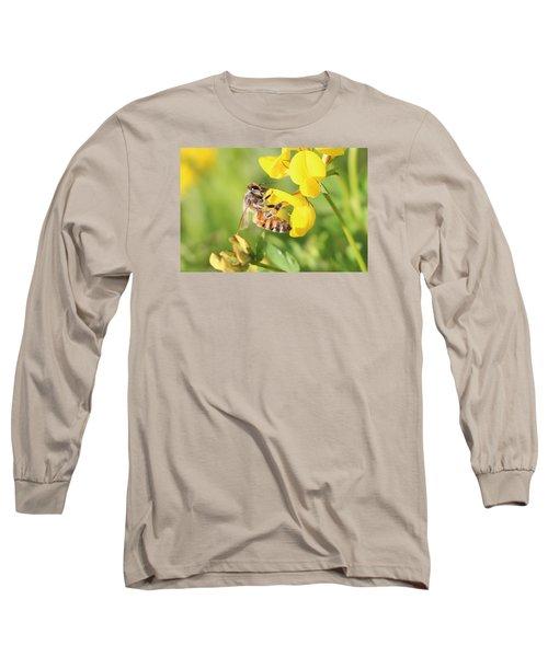 honeybee on Birdsfool Trefoil Long Sleeve T-Shirt by Lucinda VanVleck