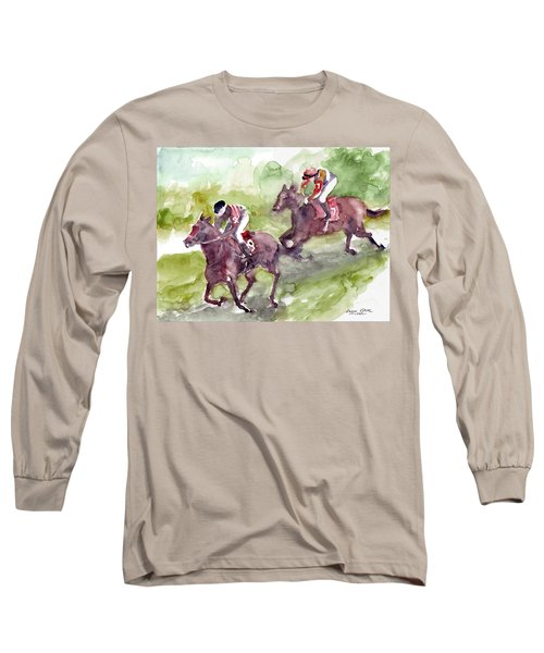 Long Sleeve T-Shirt featuring the painting Horse Racing by Faruk Koksal