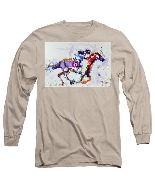 Horse Racing Print Long Sleeve T-Shirt by Robert Joyner