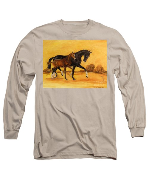 Long Sleeve T-Shirt featuring the painting Horse - Together 2 by Go Van Kampen