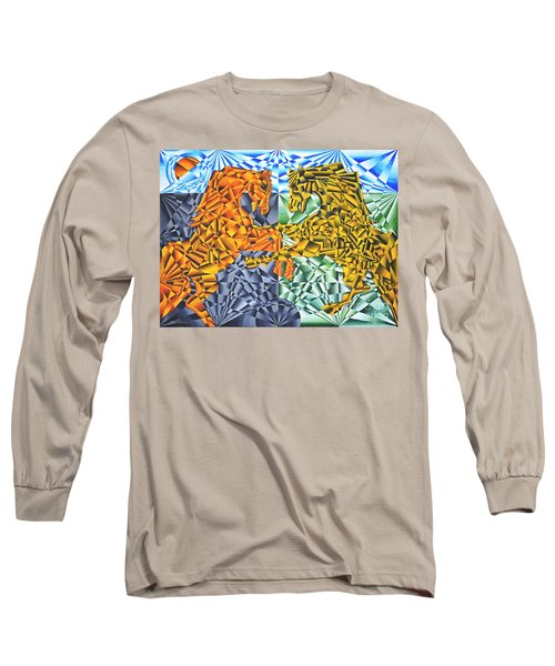 Long Sleeve T-Shirt featuring the painting Horses Of A Different Color by Joseph J Stevens