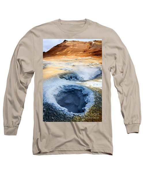 Long Sleeve T-Shirt featuring the photograph Hot Springs At Namaskard In Iceland by Peta Thames