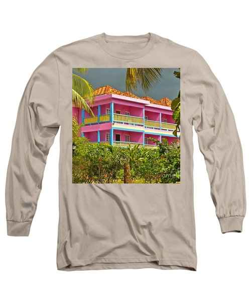 Hotel Jamaica Long Sleeve T-Shirt by Linda Bianic