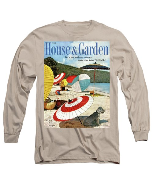 House And Garden Featuring Umbrellas On A Beach Long Sleeve T-Shirt