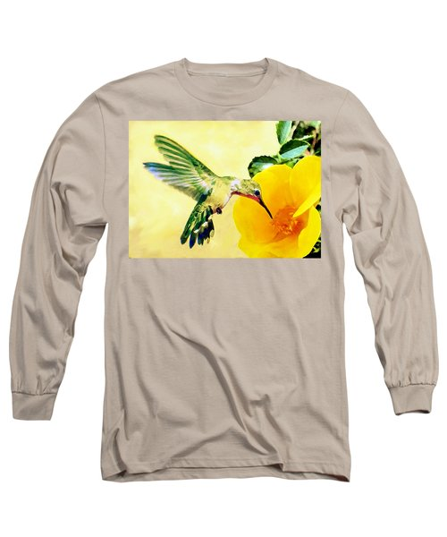 Hummingbird And California Poppy Long Sleeve T-Shirt