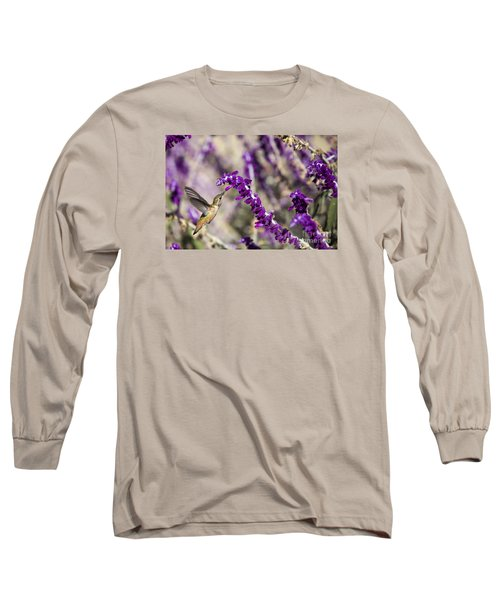 Long Sleeve T-Shirt featuring the photograph Hummingbird Collecting Nectar by David Millenheft