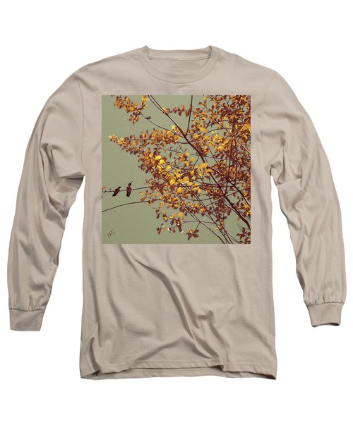 Hummingbirds On Yellow Tree Long Sleeve T-Shirt