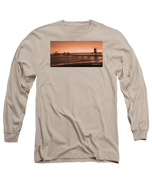 Huntington Beach Pier - Twilight Sepia Long Sleeve T-Shirt