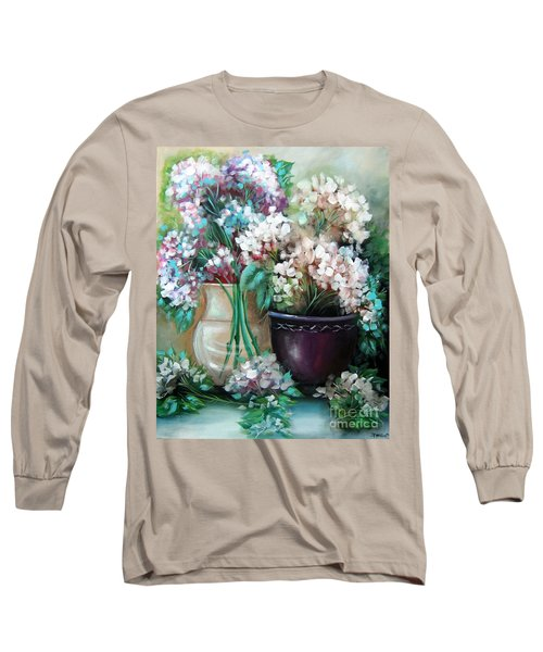Long Sleeve T-Shirt featuring the painting Hydrangea Melody by Patrice Torrillo