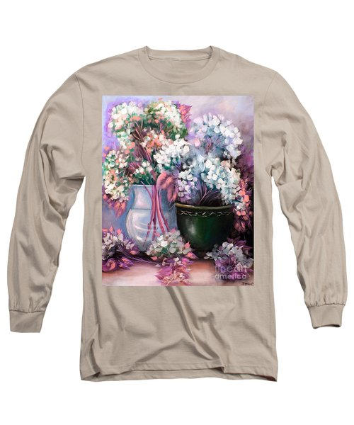 Long Sleeve T-Shirt featuring the painting Hydrangeas Still Life Pink by Patrice Torrillo