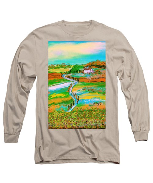 Long Sleeve T-Shirt featuring the painting  Tuscan Countryside by Loredana Messina