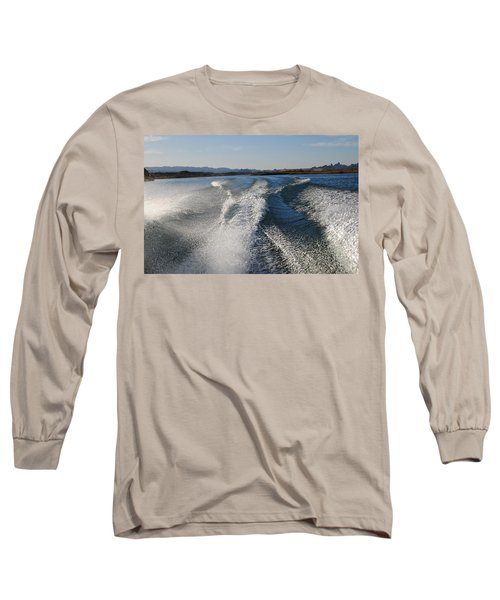 In The Wake Of Lake Havasu Az  Long Sleeve T-Shirt by Cathy Anderson