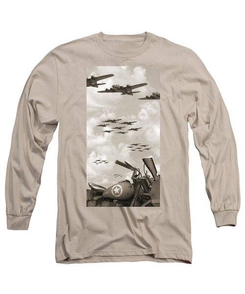 Indian 841 And The B-17 Panoramic Sepia Long Sleeve T-Shirt