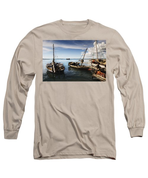 Indian Ocean Dhow At Stone Town Port Long Sleeve T-Shirt by Amyn Nasser