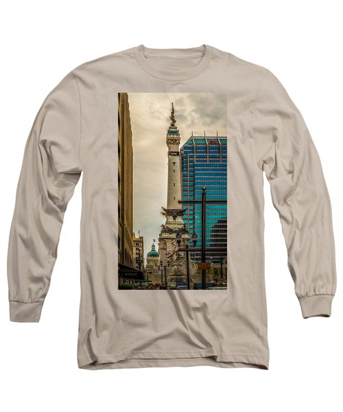 Indiana - Monument Circle With State Capital Building Long Sleeve T-Shirt