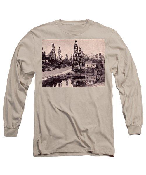 Long Sleeve T-Shirt featuring the drawing Indiana Petroluem Wells Circa 1900 by Peter Gumaer Ogden
