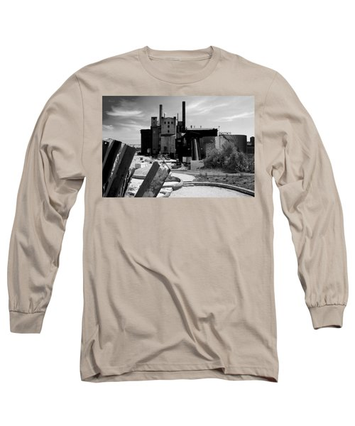 Industrial Power Plant Landscape Smokestacks Long Sleeve T-Shirt