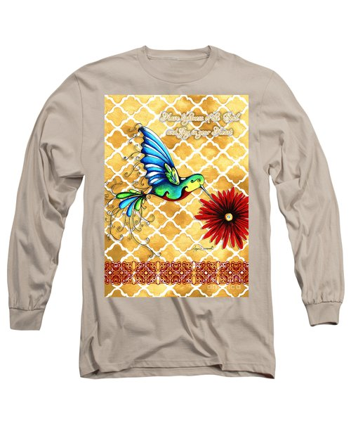 Inspirational Hummingbird Art Gold Red Turquoise Pattern Quote By Megan Duncanson Long Sleeve T-Shirt