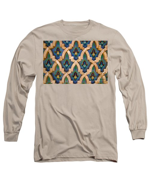 Intricate Zelji At The Hassan II Mosque Sour Jdid Casablanca Morocco Long Sleeve T-Shirt