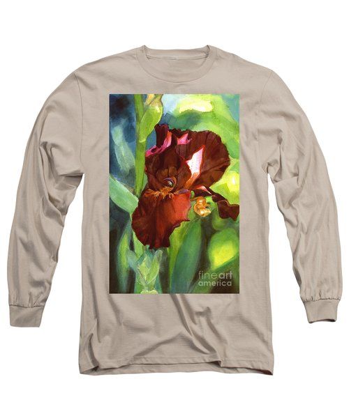 Long Sleeve T-Shirt featuring the painting Iris Sienna Brown by Greta Corens