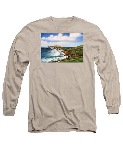 Long Sleeve T-Shirt featuring the painting Dingle Peninsula Irish Coastline by Melinda Saminski