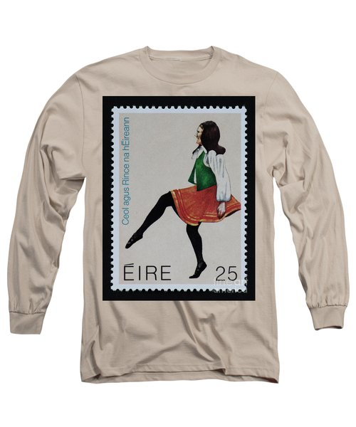 Irish Music And Dance Postage Stamp Print Long Sleeve T-Shirt by Andy Prendy