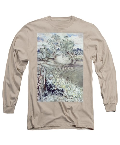 Izaak Walton Reclining Against A Fence Long Sleeve T-Shirt
