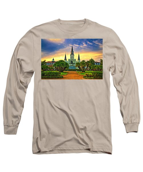 Jackson Square Evening - Paint Long Sleeve T-Shirt by Steve Harrington