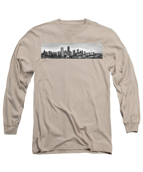 Long Sleeve T-Shirt featuring the photograph Jacksonville Skyline Morning Day Black And White Bw Panorama Florida by Jon Holiday