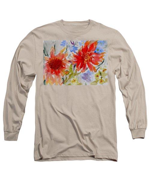 Long Sleeve T-Shirt featuring the painting Jann's Gaillardia by Beverley Harper Tinsley