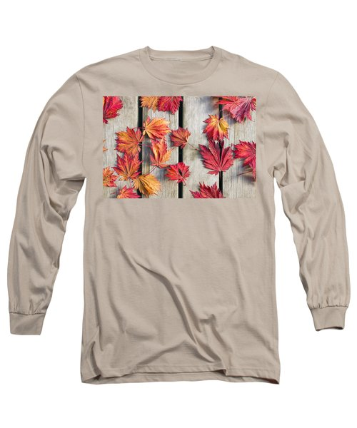 Japanese Maple Tree Leaves On Wood Deck Long Sleeve T-Shirt