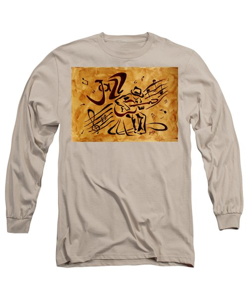 Long Sleeve T-Shirt featuring the painting Jazz Abstract Coffee Painting by Georgeta  Blanaru