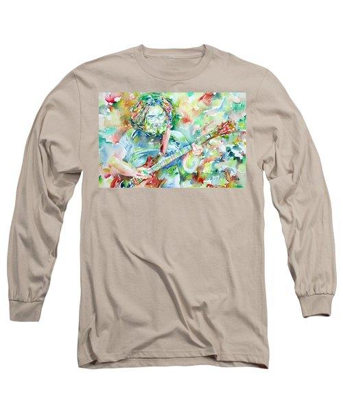 Jerry Garcia Playing The Guitar Watercolor Portrait.3 Long Sleeve T-Shirt
