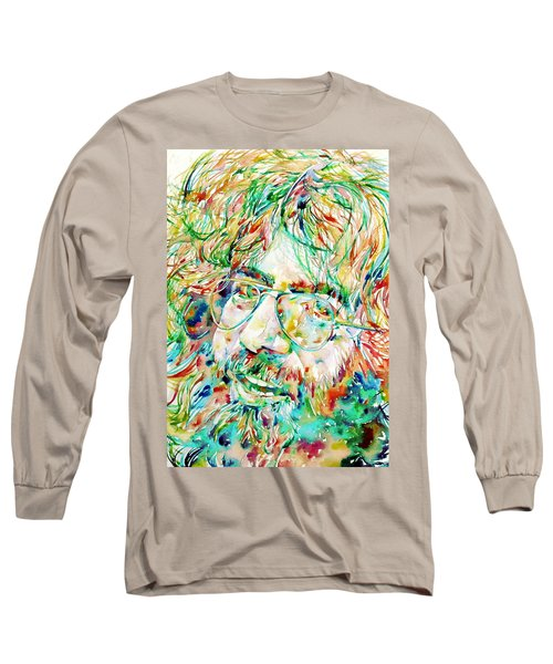 Jerry Garcia Watercolor Portrait.1 Long Sleeve T-Shirt by Fabrizio Cassetta