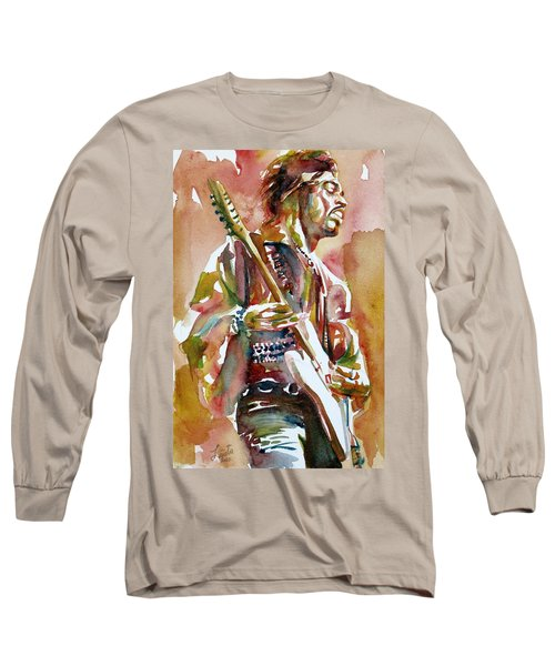 Jimi Hendrix Playing The Guitar Portrait.3 Long Sleeve T-Shirt