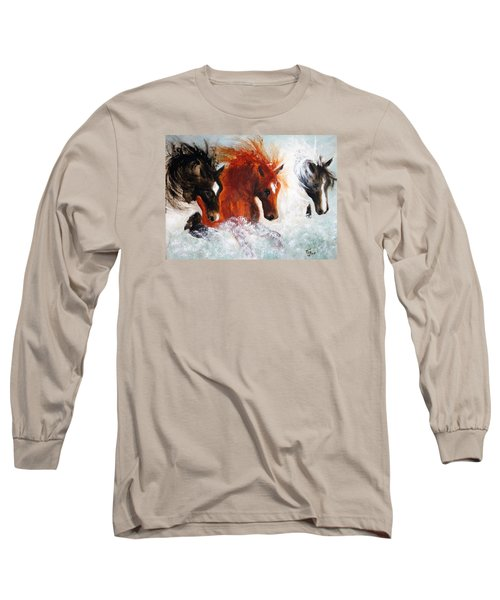 Long Sleeve T-Shirt featuring the painting Joe Tj Apache by Barbie Batson