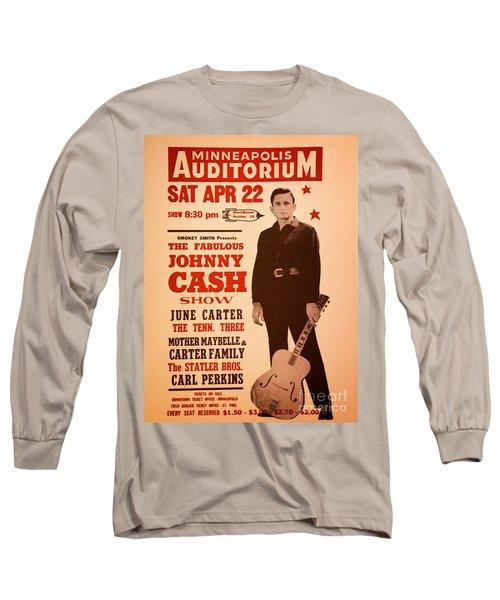 Johnny Cash Long Sleeve T-Shirt by Bob Hislop
