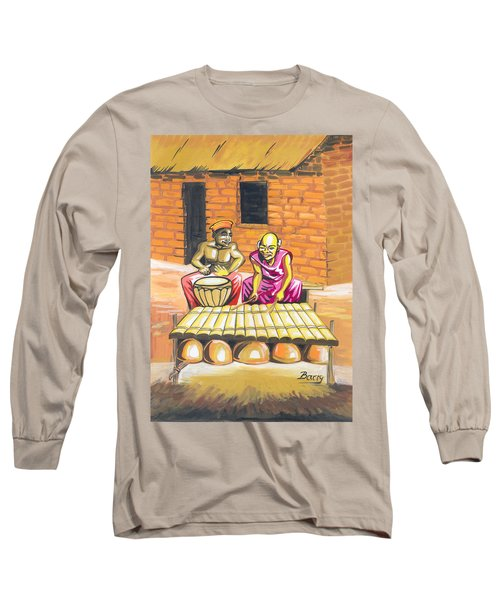 Long Sleeve T-Shirt featuring the painting Joueurs De Balafon Et De Tam Tam by Emmanuel Baliyanga