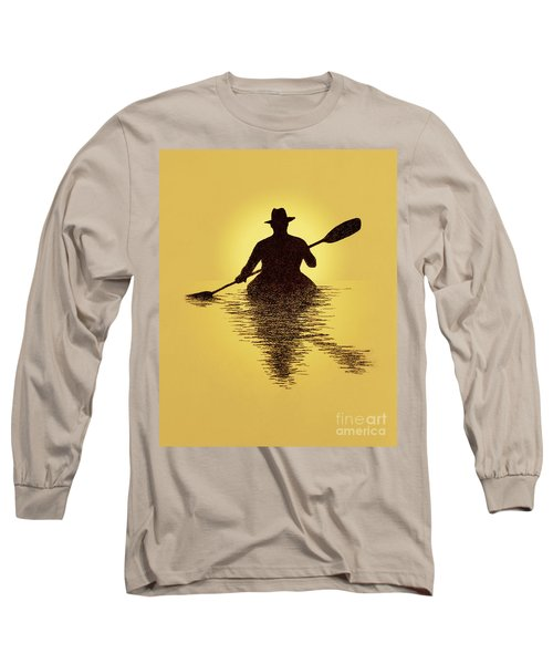 Kayaker Sunset Long Sleeve T-Shirt by Garry McMichael