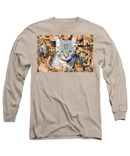 Long Sleeve T-Shirt featuring the photograph Kitten In Leaves by Susan Leggett