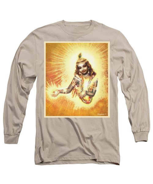 Long Sleeve T-Shirt featuring the mixed media Krishna Vision In The Clouds by Ananda Vdovic