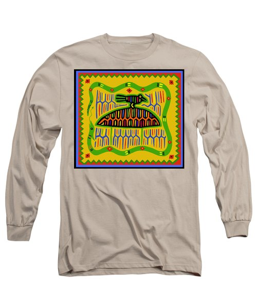 Long Sleeve T-Shirt featuring the digital art Kuna Bird With Snake by Vagabond Folk Art - Virginia Vivier