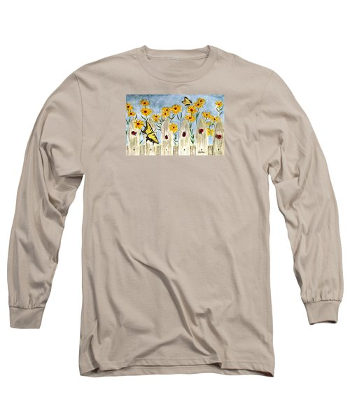 Long Sleeve T-Shirt featuring the painting Ladies In The Garden by Angela Davies