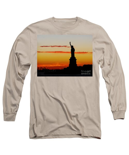 Long Sleeve T-Shirt featuring the photograph Lady Liberty At Sunset by Susan Wiedmann