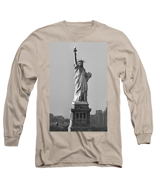 Lady Liberty Black And White Long Sleeve T-Shirt by Kristin Elmquist